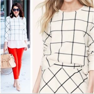 LOFT Cream Windowpane Sweater